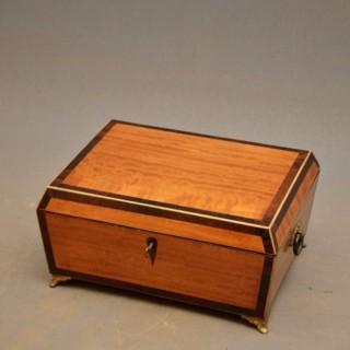 Regency Satinwood and Rosewood Jewellery Box