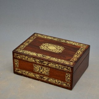 Regency Brass Inlaid Rosewood Jewellery Box