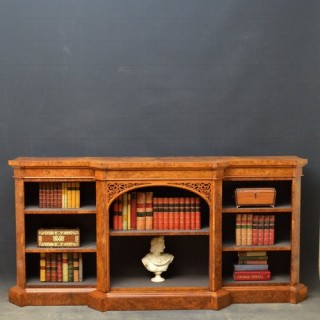 A Superb Victorian Burr Walnut Open Bookcase