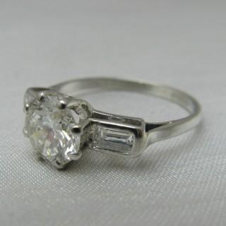 Platinum Art Deco Diamond Solitaire Ring 1.30 Carats
