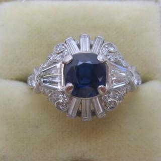 Art Deco Velvet Blue Sapphire and Diamond Cluster Ring