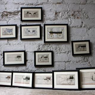 A Scarce & Decorative Group of Twelve Framed c.1860s Coach Building Carriage Designs