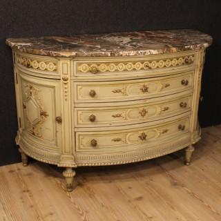 20th Century Italian Lacquered Demi Lune Dresser