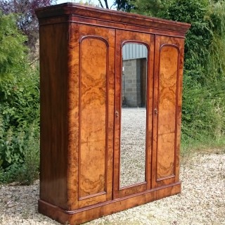 19th Century Victorian Walnut Antique Wardrobe Linen Press