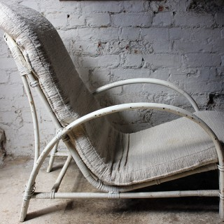 A Stylish White Painted Art Deco Period Bamboo & Wickerwork Open Armchair by Dryad c.1937