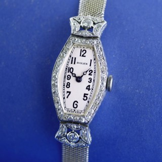 18ct White Gold & Diamond Art Deco Rolex Watch dated 1926