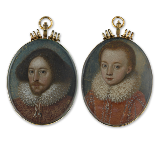 A pair of portrait miniatures, probably a Father and Son, 1617