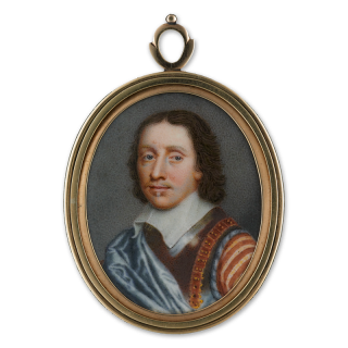 Portrait enamel of Oliver Cromwell (1599-1658), wearing armour breastplate and pale blue silk cloak