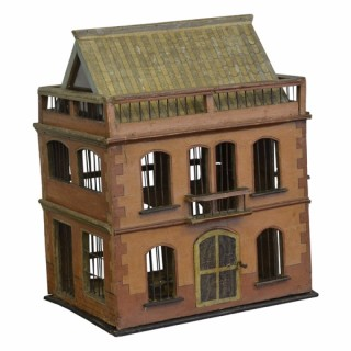 Painted Bird Cage in the form of a house, French, 19th century