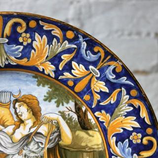 A Beautiful Rivet Repaired Italian Majolica Plate c.1870