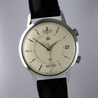 STAINLESS STEEL VINTAGE JAEGER-LECOULTRE GUBELIN IPSOVOX (MEMOVOX) AUTOMATIC WATCH