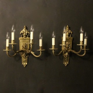 English Pair Of 4 Arm Antique Wall Lights