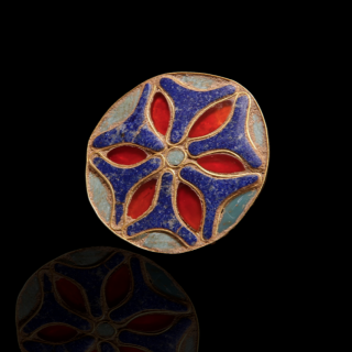 Rare Phoenician-Egyptian inlay floral stud