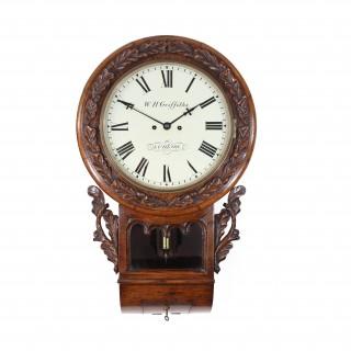 Oak striking English drop dial wall clock