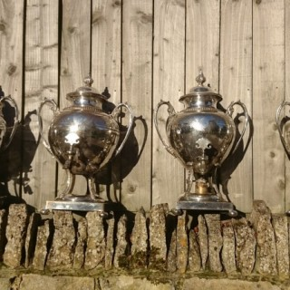 Rare Set Of Four Large Liquid Fuel Kettles Made By Pinder Brothers Of Sheffield England
