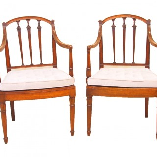 Antique Georgian Mahogany Pair Of Carver Chairs