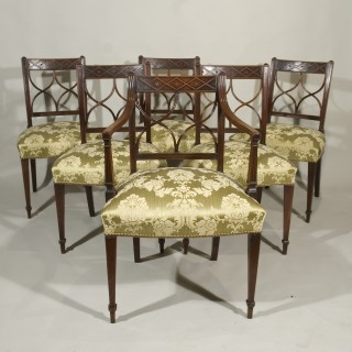 A Set of Six Sheraton Period 18th Century Mahogany Dining Chairs