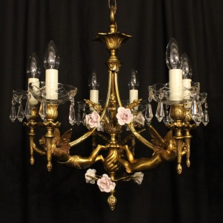 French Pair Of Bronze Cherub Chandeliers