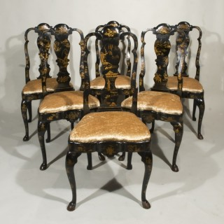 A Set of Six 18th Century Dutch lacquered and japanned chairs