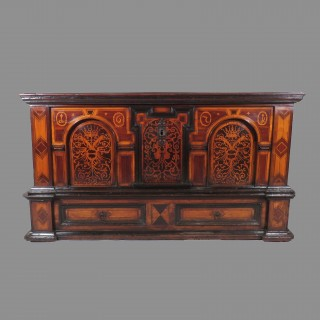 An Important and Large Late 17th Century German Walnut and Fruitwood Coffer on Stand