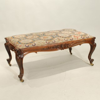 A William IV Rosewood Stool with Original Needlework Upholstery