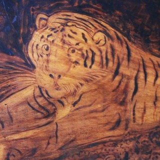 A Rare Regency Period Pyrography Panel of a Tiger by Joseph Smith, Skipton, North Yorkshire, 1818, after George Stubbs (1724–1806)