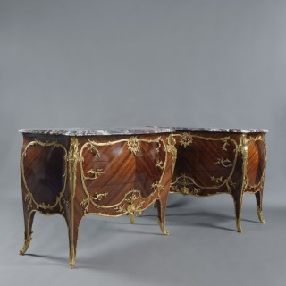 Pair of Louis XV Style  Marble Top Commodes