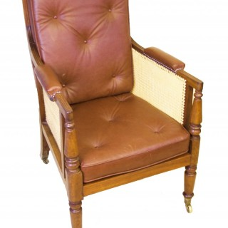 An Antique Regency Mahogany Library Bergere Chair