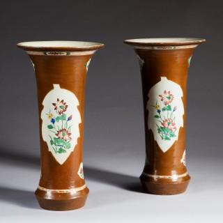 Pair Of Japanned Berlin Chinoiserie Wucai Batavia Trumpet Vases