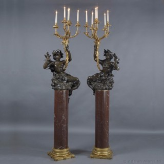 Pair of Bronze Figural Six-Light Candelabra