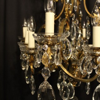 French Bronze & Crystal 12 Light Chandelier
