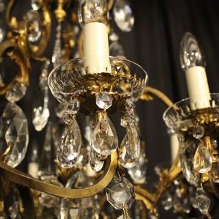 French Bronze & Crystal 12 Light Chandelier