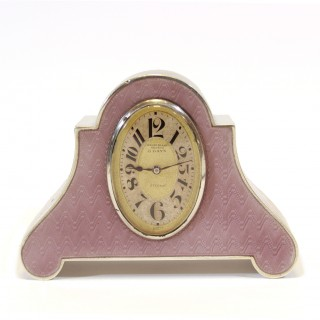 Silver & Lilac Guilloche enamel clock by Eterna