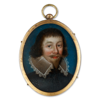Portrait of a Gentleman traditionally thought to be George Villiers, 1st Duke of Buckingham (1592-1628) wearing embroidered black doublet and a wired collar trimmed with lace, c.1625