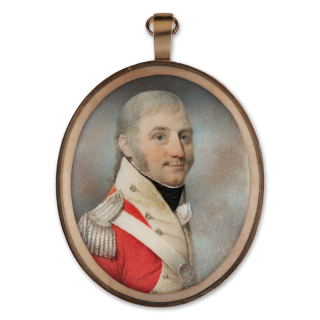 Portrait miniature of an Officer wearing the uniform of the 88th Regiment of Foot, his scarlet coatee with buff facings and silver epaulette, his belt-plate bearing the number '88', c. 1801