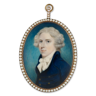 Portrait miniature of a Gentleman, wearing dark blue coat with brass buttons and tied white cravat, his hair powdered, c.1790