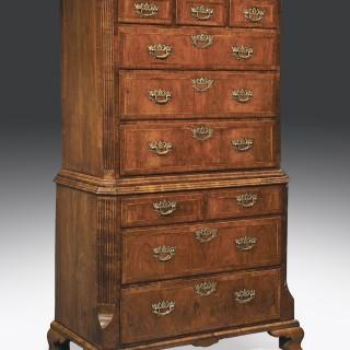 Early 18th Century George II Period Walnut Veneered Tallboy