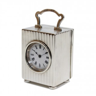 Edwardian solid silver timepiece carriage clock