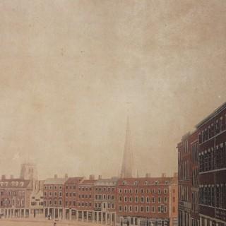 A Perspective View of Nottingham Market Place; A Hand-Coloured Aquatint Drawn by Richard Parkes Bonington. c.1813