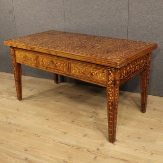 20th Century French Inlaid Writing Table With Mother Of Pearl Inlays