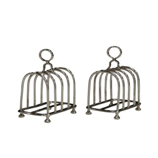 ANTIQUE PAIR OF SILVER TOAST RACKS