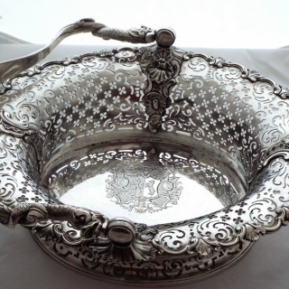 Magnificent large armorial cast George II silver basket London 1744 John Jacobs 63 ounces