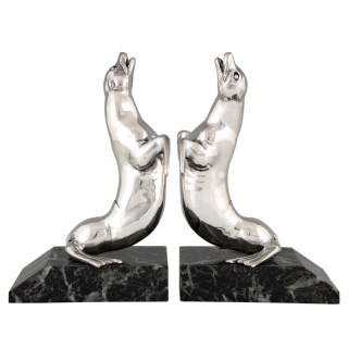 French Art Deco silvered seal bookends, 1930