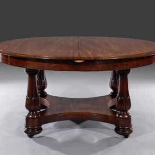 Rare William IV Circular Mahogany Centre Pedestal Extending Dining Table Stamped M.Willson (England, c. 1835)
