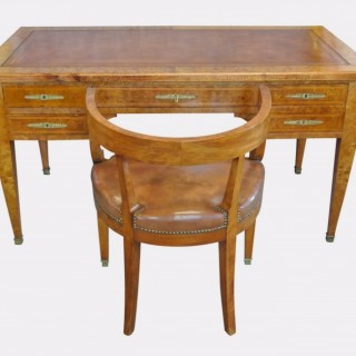Burr Elm Empire Free Standing Desk and Ensuite Chair