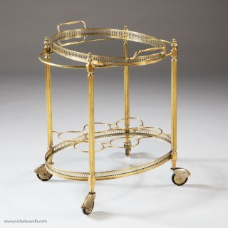 Mid Century Polished Brass Cocktail Drinks Trolley - Bar Cart