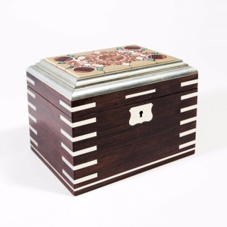Bohemian Hardstone Inlaid Rosewood And White Metal Casket Box