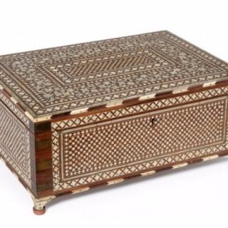 Bone inlaid and Sadeli jewellery box