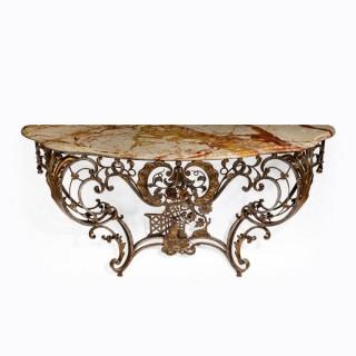 A Napoleon III cast iron console table