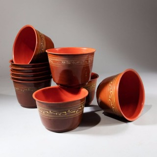 10 Burmese Brown And Gold Lacquer Bowls